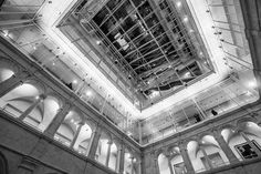 Harvard Art Museums | Looking up inside the Calderwood Courtyard
