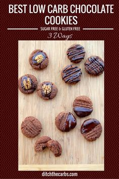 Try these today. The easiest recipe for Best Low Carb Chocolate Cookies with only 2.7g net carbs. They are gluten free, grain free, low carb and no added sugar.   ditchthecarbs.com