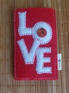 Love Written Felt Phone Case Red and White Felt Phone by LemTal, $28.00
