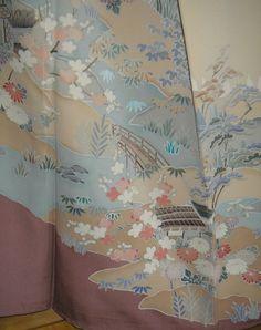 KIMONO ART IroTomesode Vintage Japanese Silk 5 by WandererTextiles