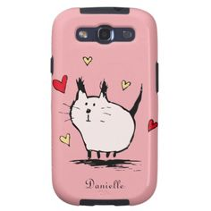 Little Pink Love Cat Samsung Galaxy S3 Case by Scruff... #cats