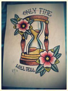 Hourglass Traditional Tattoo Design by KatoMacabre.deviantart.com on @DeviantArt