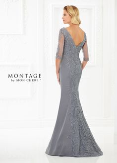 Montage By Mon Cheri 118969 - This sophisticated crepe mermaid gown with three-quarter lace illusions sleeves features a bodice covered with embroidery that cascades down the center front and back skirts. Front and back V-necklines and a sweep train round out the design.