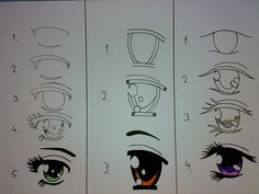 How to draw different anime eyes!: