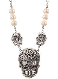 Sweet Sorrow Sugar Skull Necklace & Earrings Set at ShopPlasticland.com