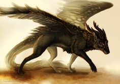 Creature commission by Nimphradora. The Dragon-Wolf is a heraldic creature composed of two animals, a Dragon and a wolf