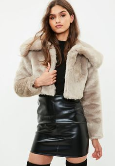 Missguided - Taupe Extreme Collar Super Crop Faux Fur Coat