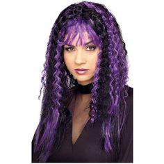 Witch Fancy Dress, Adult Fancy Dress, Purple Streaks, Purple Wig, Purple Halloween, Halloween Wigs, Purple Dress Accessories, Apple Costume, Purple Candy