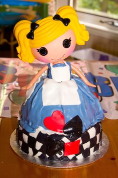 """Alice in Lalaloopsyland Cake I made for my daughter. Wilton wonder pan, 3 recipes of 8-9"""" layer cake 2 for mold and 1 for the platform. #Lalaloopsy #Aliceinwonderland"""