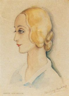 Artist:     Gerda Wegener (Danish, 1885–1940) Title:     Portræt af solodanserinde Ulla Poulsen i profil , 1934–1934  Medium:     Pencil and Watercolor Size:     26 x 19 cm. (10.2 x 7.5 in.)
