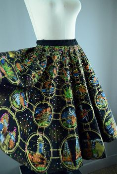 FANTASTIC 1950s hand painted Mexican circle skirt by melsvanity, $128.00