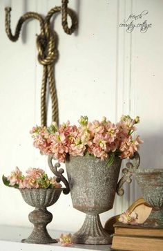 FRENCH COUNTRY COTTAGE: Apricot & gray on the mantel