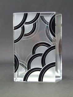 Medium Palda Vase  Heavy glass vase with black enamelling detail of irregular shape as one end is angled and the other straight. It measures approx. 8.5 inches high by 6 long by 3 deep (22cm x 15 x 7.5). Condition is excellent.   Ref: G544 . . . £375