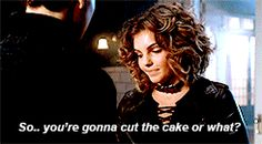 it's weird for me...it's weird for me too...ok...and now? The cake XD Awkward moment but cute #Bruce #Selina #Gotham