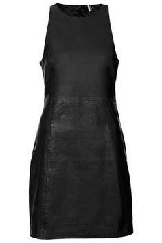 Premium Leather Cut-Away Shift Dress - Shift Dresses
