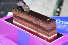 Concerto from Lenôtre...layers of different chocolate flavors; mousse, biscuit (thin cake), ganache and chocolate crisp...