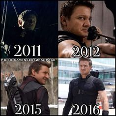 Hawkeye in Thor, The Avengers, Avengers: Age of Ultron and Captain America: Civil War.