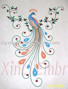 I like the whispy swirly lines between the feathers Embroidery Suits Design, Embroidery Works, Bird Embroidery, Hand Embroidery Patterns, Machine Embroidery, Peacock Sketch, Peacock Drawing, Peacock Art, Peacock Design