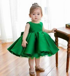 Big Bow Ruffles Dress--Made To Order - High Quality Beautiful Round Neckline Sleeveless Knee Length Baby Girl Party Dresses, Birthday Dresses, Little Girl Dresses, Baby Dress, Girls Dresses, Dress Party, Dress Anak, Baby Girl Princess, Princess Tutu