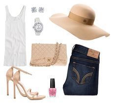 """""""My style/chic splendor"""" by chic-splendor on Polyvore featuring Hollister Co., J.Crew, Maison Michel, Stuart Weitzman, Chanel, Tiffany & Co. and OPI"""