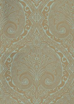 Khitan Teal and Gold wallpaper by Nina Campbell