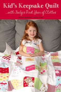 Kids Quilt made with their baby clothes from their first year!  Just a wonderful keepsake and great way to use their baby clothes to treasure as they grow!