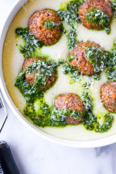 Lamb Meatballs with Manchego Polenta & Chimichurri - Food and Cocktails - Polenta Recipes, Lamb Recipes, Meat Recipes, Dinner Recipes, Cooking Recipes, Healthy Recipes, Dinner Ideas, Healthy Food, Chimichurri