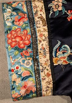 Chinese Deep Blue Ground Silk Robe with Floral and Butterfly Embroidery Lot 271 | eBay