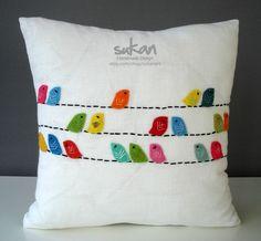 Felt bird pillow by sukanart on Etsy.