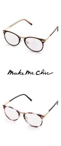 bd3bb555d1dd Brown Frame Metal Arm Clear Lens Glasses Make Me Chic