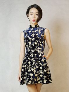 Floral Belted Qipao / Cheongsam Dress with Full Skirt