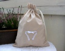 Wedding gift, bridal gift, lingerie bag, gift for bride, lingerie pouch, beige, 30 cm x 23 cm