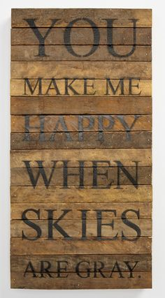 Absolutely in love with this wall decor!  The song lyrics are so sweet and it's reclaimed wood that was crafted from 100-year-old tobacco-lath wood salvaged from farms in Wisconsin. Sturdy, light weight and touching.