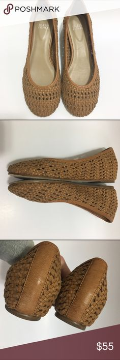 Eileen Fisher Sew Internal Wedge Woven ballet flat Eileen Fisher Sew Internal Wedge Woven ballet flat in Chestnut. Woven leather upper with crackled leather trim. Round toe. Flat heel. Hidden internal wedge provides subtle lift. Padded insole. Leather sole with rubber insets. Only signs of wear are on soles of shoe; excellent condition. Eileen Fisher Shoes Flats & Loafers