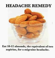 10-12 mandorle contengono il quantitativo di salicina, un antinfiammatorio naturale, equivalente a 2 aspirine. In caso di dolori come il mal di testa, possiamo provare con le mandorle, prima di assumere un farmaco come l'aspirina.