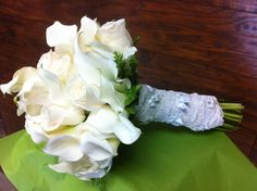 White rose and calla lily bouquet    www.facebook.com/naturalsimplicityflowers