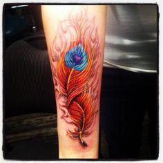 arm phoenix feather tattoo - Design of Tattoos Pheonix Feather, Phoenix Feather Tattoos, Phoenix Tattoo Feminine, Peacock Tattoo, Feather Tattoo Design, Phoenix Tattoo Design, Time Tattoos, Body Art Tattoos, New Tattoos