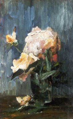 Sina 'Sientje' Mesdag-van Houten Groningen 1834-1909, Den Haag Studie van een roos, olie op doek, 34.8 x 21.8 cm, gesigneerd verso op etiket