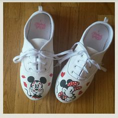 ?Mickey & Minnie Valentine Shoes ADORABLE brand new canvas shoes with Mickey and Minnie Mouse hand painted on them by a friend of mine. One of a kind for sure! Shoes Sneakers