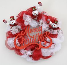 31 Snowman Deco Mesh Christmas Battery Operated by WeLoveWreaths, $80.00