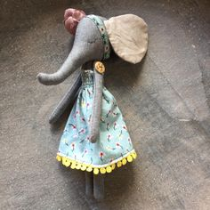 """Just launched! EMMA - OOAK Girl Elephant Standing Cloth Doll - 9.5"""" Gray Cotton Chambray https://www.etsy.com/listing/549612631/emma-ooak-girl-elephant-standing-cloth?utm_campaign=crowdfire&utm_content=crowdfire&utm_medium=social&utm_source=pinterest"""