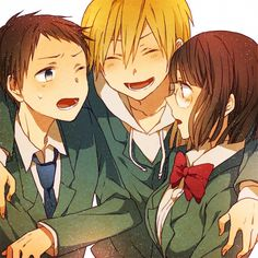 Tags: Anime, Laughing, Durarara!!, Kida Masaomi, Sonohara Anri, Ryuugamine Mikado, Kiri / 桐