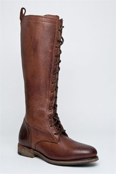 Vintage Shoe Company - Eunice Knee High Lace Up Boot - Chocolate