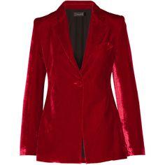 Ellery Evil Eye velvet blazer ($825) ❤ liked on Polyvore featuring outerwear, jackets, blazers, claret, red velvet blazer, blazer jacket, e l l e r y, red blazer jacket and red blazer