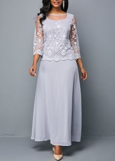 Style : Fashion Color : Light Grey Pattern Type : Solid Neckline : Round neck The post Lace Panel Three Quarter Sleeve Chiffon Dress appeared first on Power Day Sale. Vestidos Chiffon, Vestidos Sexy, Chiffon Maxi Dress, Lace Dress, Party Dress Sale, Club Party Dresses, Women's Fashion Dresses, Sexy Dresses, Blue Dresses