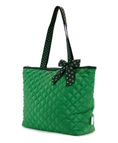 $21.95  Green Quilted Tote bag, can be personalized!  Great for weekend get aways or tail gating!