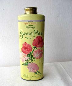 talcum powder tins | Vintage 1940-50 Sweet Pea Talcum Powder Tin, Sweet Pea Blossoms, BoKay ...