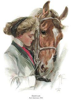 """Dumb Luck"" illustration by Harrison Fisher, published in Fair Americans, Vintage Cowgirl, Vintage Horse, Vintage Prints, Vintage Posters, Vintage Artwork, Decoupage, Equine Art, Horse Art, Vintage Images"