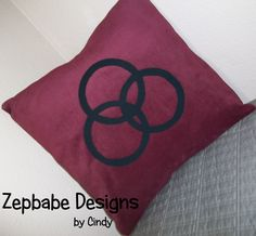 Led Zeppelin JB Dark Red Pillow Case 12x12     $25   Corduroy Fabric with iron on applique symbols https://www.learn2sewflorida.com/Zepbabe_Designs.html
