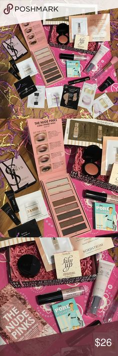 The Nude Pinks Bundle! Awesome bundle that comes with everything you see! The Nude Pinks palette, mally blush, Mally concealer, benefit fake up & the pore-fessional, revlon photoready insta-fix highlighting stick, Mac prep&prime, Yves Saint Lauren samples & perfume,& mascara trials, lamer samples &!a few more! I always send extras as well;))) #Sephora #Nordstrom, Ulta, glossybox, ipsy, #birchbox #smashbox Sephora Makeup Eyeshadow